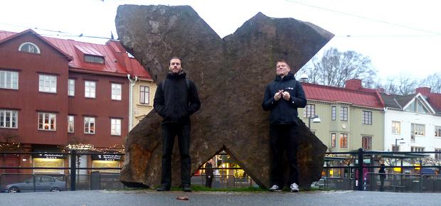 At Redbergsplatsen, Göteborg (Sweden) with Kevin.
